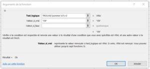 Formation Excel a distance sur la fonction TROUVE boite arguments SI