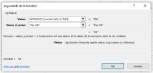 Formation Excel a distance sur la fonction TROUVE boite arguments SIERREUR