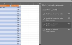 """Formation Excel à distance - Tableau Excel avec des données et le volet """"Commentaires"""""""
